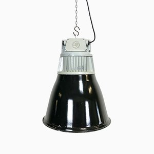 Vintage Black Enamel Industrial Pendant Light, 1960s