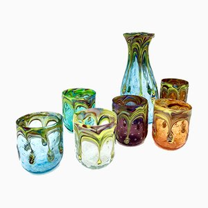 Vintage Italian Murano Water Glasses & Decanter by Mariana Iskra for Ribes, 2005, Set of 6