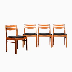 Teak & Leatherette Chairs, 1960s, Set of 4