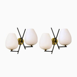Italian Metal and Glass Opal Sconces, 1950s, Set of 2