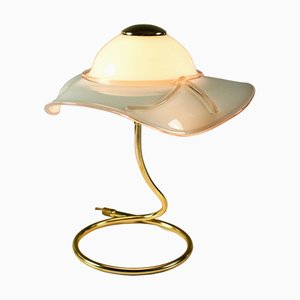 Table Lamp with Ladies' Hat Shade from Venice Glass, 1970s