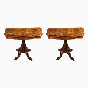 Burr Walnut Card Tables by Lamb of Manchester, Set of 2