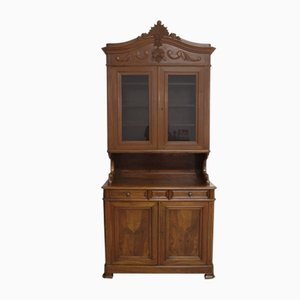 Antique 19th Century Louis Philippe Walnut Showcase Cabinet