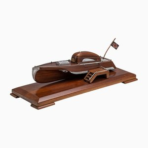 English Mahogany Speed Boat Shaped Cigarette Dispenser, 1920s