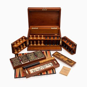 Antique Victorian Mahogany Games Compendium, Cards & Board Games