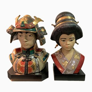 Porcelain Emperor Busts by Marcos Giner, 1970s, Set of 2