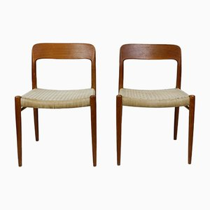 Danish Teak Model 75 Dining Chairs by Niels Otto Møller for J.L. Møllers, 1960s, Set of 2