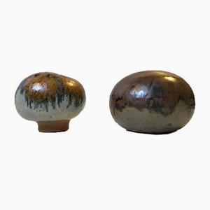 Scandinavian Stoneware Mushroom Vases by Erik Graeser, 1970s, Set of 2