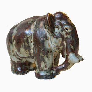 Sung Glazed Ceramic Elephant by Knud Kyhn for Royal Copenhagen, 1950s
