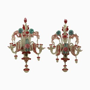 19th Century Murano Glass Sconces, Set of 2