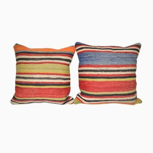 Anatolian Turkish Kilim Cushions, Set of 2