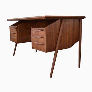 Danish Teak Floating Desk by Gunnar Nielsen for Tibergaard, 1960s.