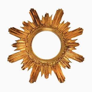 Specchio vintage dorato a forma di sole, anni '60