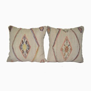 Vintage Turkish Kilim Cushion Covers, Set of 2