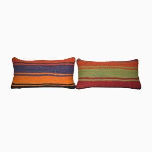 Turkish Lumbar Rug Cushion Covers, Set of 2