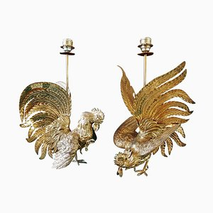 Brass Rooster Table Lamps, 1960s, Set of 2