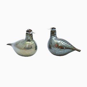 Oiseaux Long Vintage en Verre par Oiva Toikka pour Iittala, Set de 2