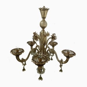 Mid-Century Murano Ocher 5-Arm Chandelier from Cesare Toso, 1960s