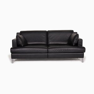 Black Leather 2-Seater Sofa from de Sede