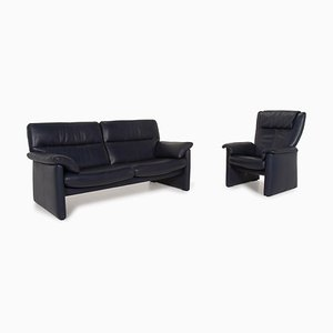 Blue Leather Sofa and Chair Set from Erpo, Set of 2