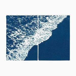 Nautical Landscape Diptych of Deep Blue Sandy Shore, 2020, Cyanotype