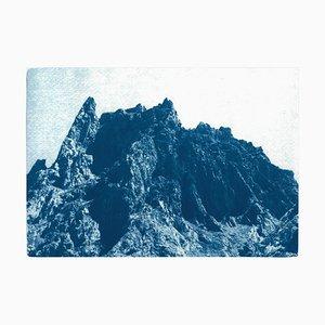 Rocky Desert Mountain in Blau, 2019, Cyanotypie