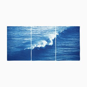 Colossal Seascape Triptych of Crashing Wave in Los Angeles, 2020, Cyanotype