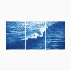 Kolossales Meerblick Triptychon der zusammenstoßenden Welle in Los Angeles, 2020, Cyanotypie