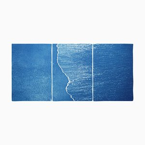 Blue Subtle Seascape of Calm Costa Rica Shore, 2020, Cyanotype
