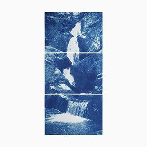 Vertical Triptych of Zen Forest Waterfall, 2020, Multi Panel Cyanotype