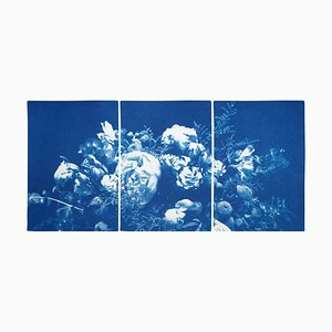 Floral Triptych of Large Floral Bouquet, 2020, Cyanotype