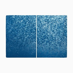 Cove Ripples Diptych, Serene Seascape Cyanotype, 2020