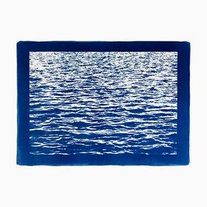 Mediterranean Blue Sea Waves, Cyanotype Print, 2019