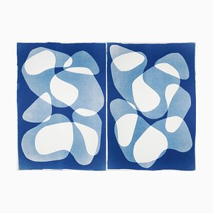 Blue Duo of Transparent Shapes, Cyanotype Diptych on Paper, 2020