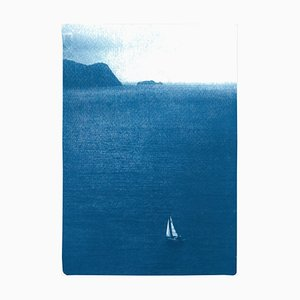 Sailboat Journey, Cyanotype Print on Watercolor Paper, 2020