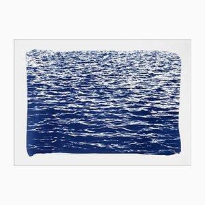 Mediterrane Blaue Meereswellen, Cyanotypie, 2019