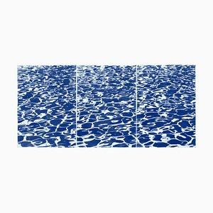 Frische kalifornische Pool-Muster, handbedruckter Cyanotyp, 2019