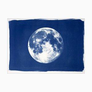 Blauer Mond, Cyanotypie auf Aquarellpapier, 2019