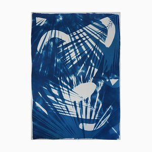 Tropical Palm Leaf Shades, Original Photogram on Watercolor Paper, Cyanotype 2019