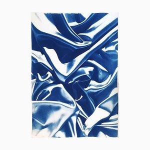Classic Blue Silk Pattern on Watercolor Paper, Cyanotype, 2019
