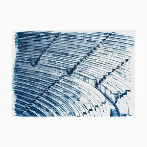 Greek Marble Amphitheater, Blueprint on Watercolor Paper, 2019