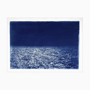 Barcelona Beach Night Horizon, Cyanotype on Watercolor Paper, 2019