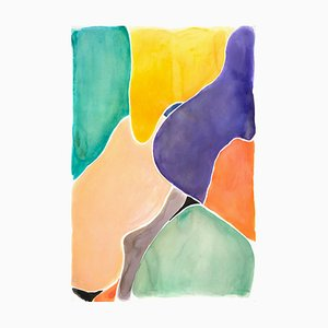 Lively Stained Glass Shapes, Watercolor on Paper, 2020