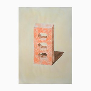 Ryan Rivadeneyra, Yellow and Orange Brick, Hand Painted Watercolor on Paper, Ink Drawing, 2020