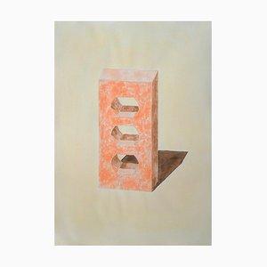 Ryan Rivadeneyra, Ziegel in Gelb & Orange, handbemalt Aquarell auf Papier, Tintenzeichnung, 2020