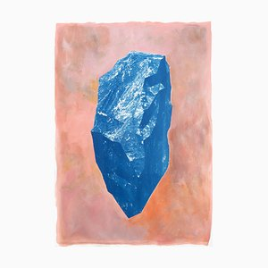 Blue Boulder on Pink, Cyanotype and Painting on Paper, Burnt Orange 2020