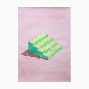 Ryan Rivadeneyra, Sol Lewitt Stairs in Green, Watercolor on Paper, 2020