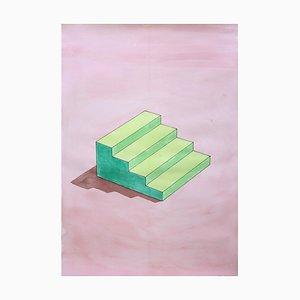 Ryan Rivadeneyra, Sol Lewitt Treppe in Grün, Aquarell auf Papier, 2020