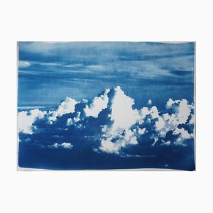 Blustery Clouds After a Storm, Sky Blue Hand Printed Cyanotype, 2020