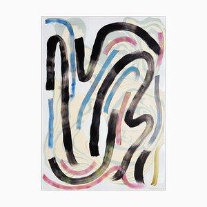 Natalia Roman, Bunte Swooshes and Swirls Nr.1, Mischtechnik auf Papier, Sumi Ink 2020